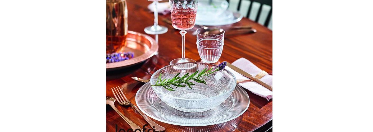 Vajilla Louison: platos de cristal elegantes y de diseño atemporal